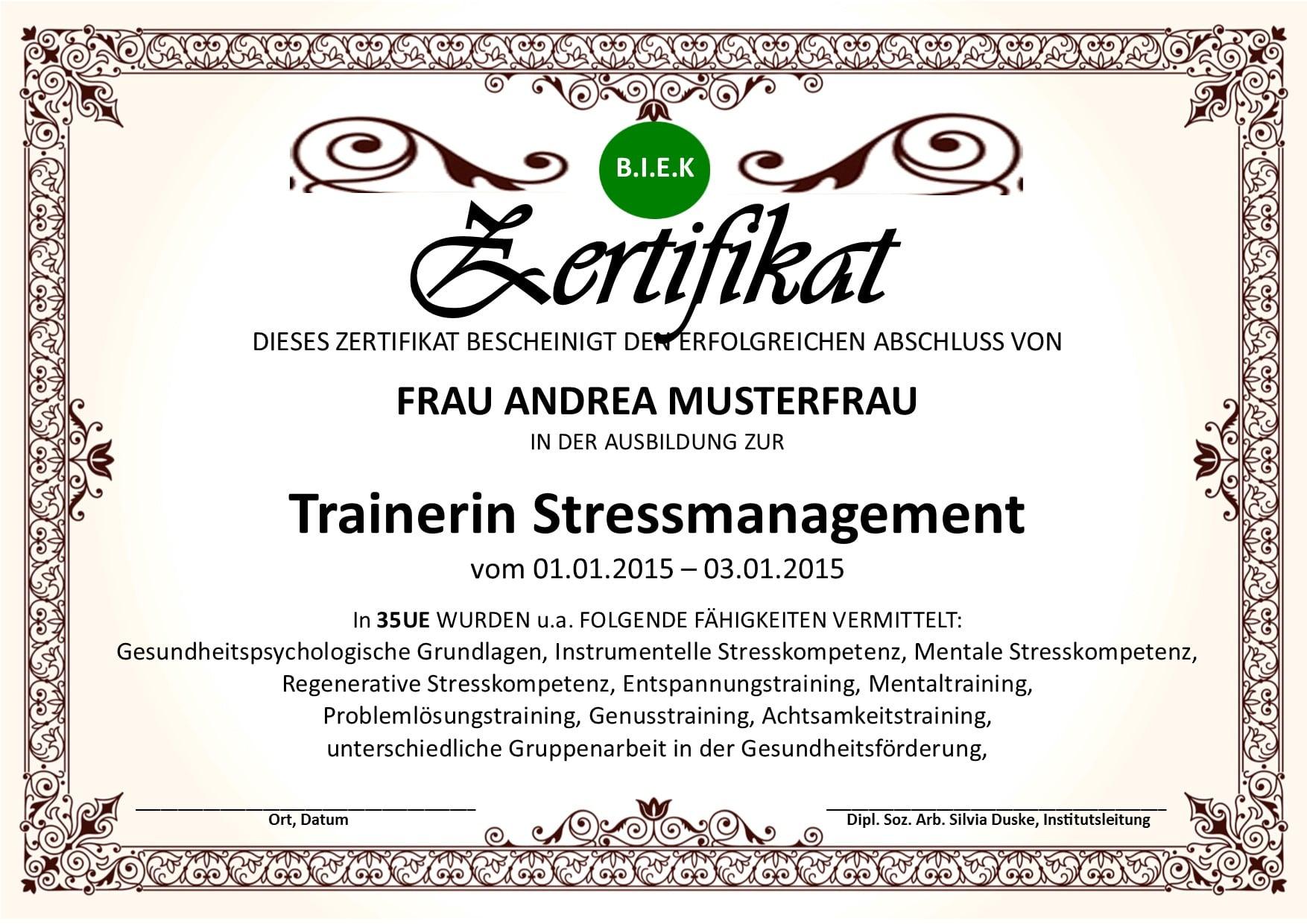 Ausbildung Stressmanagement Trainer Infos -